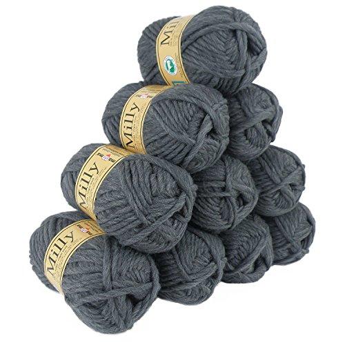 500g Filzwolle Milly Wolle zum Strickfilzen 100% Schurwolle, große Farbwahl, Farbe:17 grau-meliert