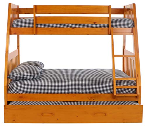 Discovery World Furniture with with Trundle Bunk Bed, Twin Over Full, Honey