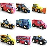 Jouets en Bois Voitures Ville Véhicules Set, 9 pcs comprend le camion pompier, la voiture de police, le taxi et l'ambulance avec boîte, Toy éducatif cadeau pour l'apprentissage précoce pour Enfants