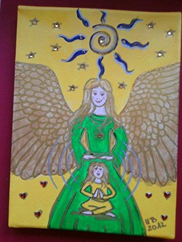 Yoga-Engel, Acryl auf Leinwand, 18 x 24 cm, Original,neu, gelb, grün,Glitzersteine