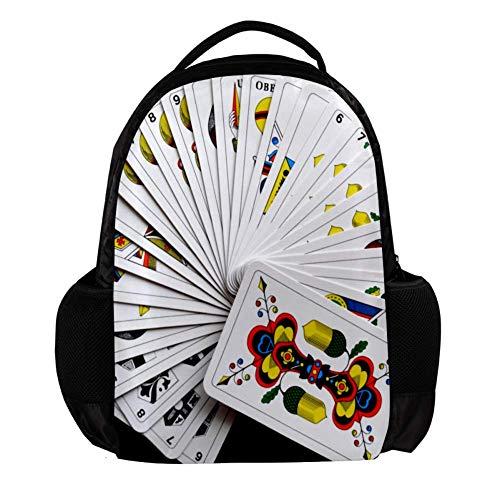 EIN Kartenspiel Stilvoller Laptop-Rucksack Leichter, lässiger Unisex-Rucksack Multifunktions-Rucksack Einzigartiger Rucksack für Teenager, Jungen, Mädchen und Studenten 27.5x13x40cm