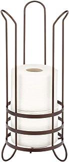 mDesign Portarrollos de papel higiénico – Moderno portarrollos de pie para cuartos de baño y aseos – Soporte de papel higiénico con espacio para 3 rollos de papel de reserva – color bronce