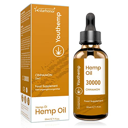 Hemp Seed Oil (Cinnamon) with 2020 New Formula, High Strength, Vegan Friendly, Natural Source of Omega 3, 6, and 9 (30000mg/30ml)