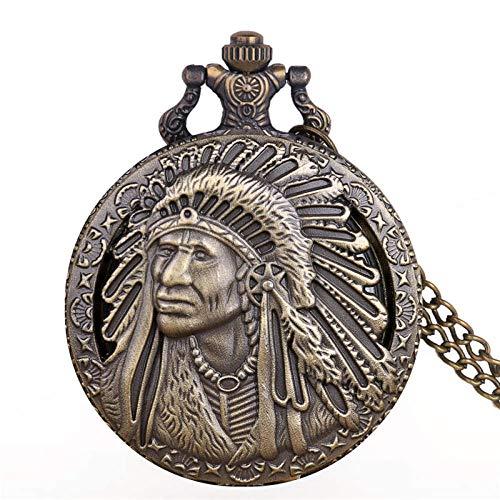 IOMLOP Reloj de bolsilloReloj de Bolsillo de Cuarzo con diseño de Retrato Colorido de Anciano Indio Antiguo, Colgante de Bronce, Collar, Cadena, Regalos de Recuerdo, CF1192