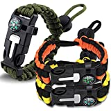 HNYYZL 3 Pack Paracord Bracelet Survival- 6 in 1- Adjustable FHNYYZL 3 Pastener, Compass, Fire Starter, 7 Core Rope, Whistle and Emergency Knife, Compact & Portable for Someone Enjoy Camping, Outdoor