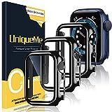 UniqueMe [3 Pezzi] Nero Cover Compatibile con Apple Watch Series 6/5 /4 / SE 44mm Vetro Temperato Cover Custodia,Copertura Completa Custodia Rigida HD Clear Pellicola Protettiva.