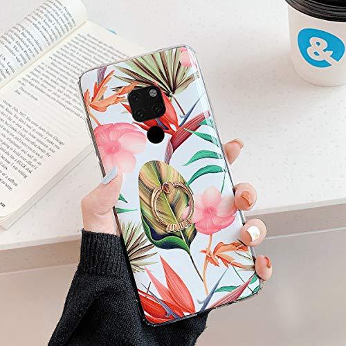 Herbests Kompatibel mit Huawei Mate 20 Hülle Silikon Handyhülle Mode Blätter Blumen Muster Ultra Dünn TPU Silikon Handytasche Crystal Case Schutzhülle mit Ring Ständer Halter,Rosa Blumen