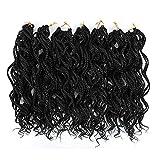 Black Curly Pre Braided Crochet Box Braiding...