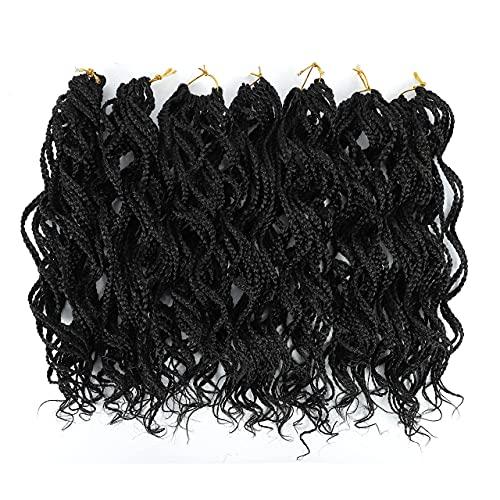Black Curly Pre Braided Crochet Box Braiding Hair...