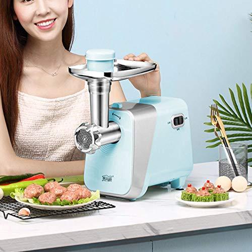 Elektrische Fleischwolf, Multifunktions-Fleischwolf- und Wurstfüll-Kits für Hochleistungs-Edelstahl, 3 Edelstahl-Mahlscheiben, Küchen-Haushalts-Gemüsemandoline,Blue