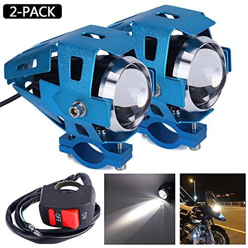 Schalter Motorradfrontscheinwerfer U5 LED Motorradnebelscheinwerfer Wasserdichtes Motorradfahren Nebelscheinwerfer Scheinwerferlampe Roller Scheinwerferlicht Zusatzscheinwerfer, blau