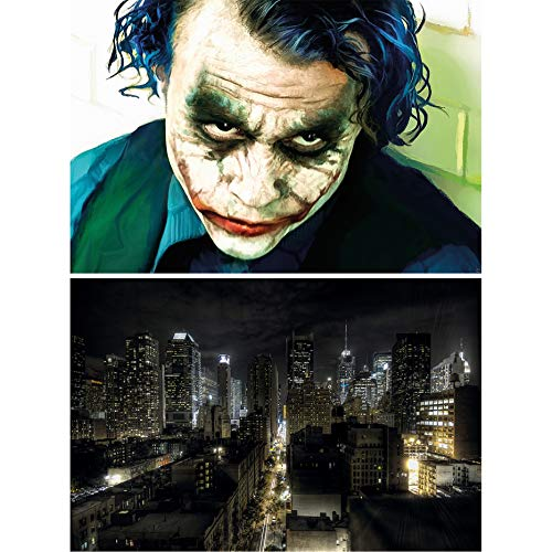 GREAT ART Set de 2 posters XXL-Joker y Manhattan de noche - motivo de la película New York City skyline comic antihéroe villano gran ciudad decoración foto de pared (140 x 100 cm)