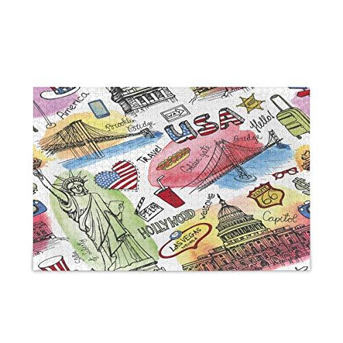 Puzzle 500 Piezas/Puzzle 1000 Piezas, New York Doodle America Flag Rompecabezas para Adultos 500 Piezas Juegos de Rompecabezas educativos Juguetes para familias Adolescentes