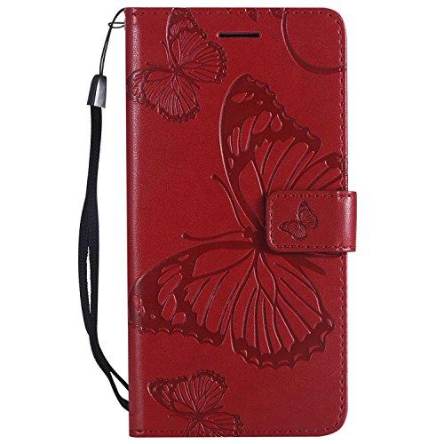 DENDICO Cover LG X Power, Pelle Portafoglio Custodia per LG X Power Custodia a Libro con Funzione di appoggio e Porta Carte di cRossoito - Rosso