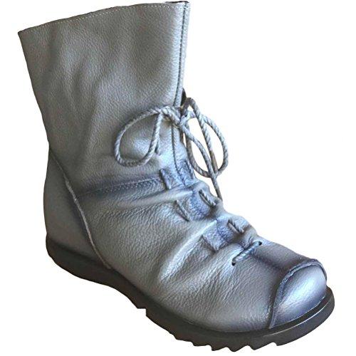 Vogstyle Damen Stiefel Weiches Leder Stiefeletten Warm Gefüttert Art 1 Grau Fleece EU40/CH41