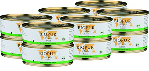 BIOPUR Bio Katzenfutter Huhn & Reis für Katzen 12x200g