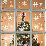 Colmanda Noël Autocollants Fenetre, 215 Pcs Noël Flocons De Neige Stickers Fenetre, Flocons de Neige Stickers Noël Amovibles Statiques en PVC Stickers pour Decoration de Noel pour Fenetre