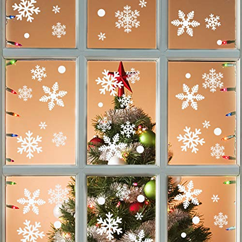 Colmanda Schneeflocken Fensterbild, 215 Weihnachten Fensterdeko Winter-Deko Weinachts Dekoration, Weihnachts Fensterdeko fur Dekoration Weihnachten Selbstklebend Fensteraufkleber (5 Blätter)