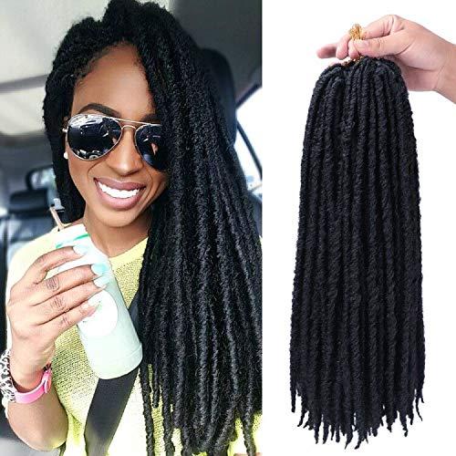 6Packs/lot 18 Inch Straight Faux Locs Crochet Hair Goddess faux Locs Hair Dreadlocks Synthetic Crochet Hair Braids for Women (1B#)