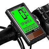 Westgirl, computer per bicicletta con energia solare, tachimetro per bicicletta, impermeabile, contachilometri con 5 lingue, retroilluminazione LCD, multifunzione, sveglia automatica
