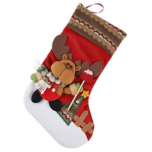 NLRHH Weihnachtscandy-Geschenk-Tasche Geschenk Santa Claus Schneemann auf Produkten Fenster-Dressing-Socken DIY (Farbe: 3, Größe: 22 * 45 cm) Peng (Color : 3)