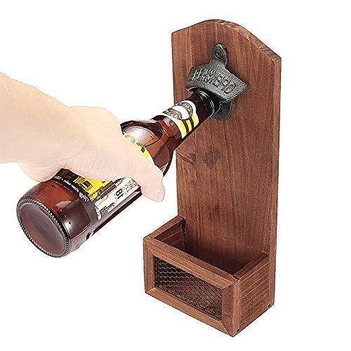 willkey Flaschenöffner Wandmontage Auffangbehälter, Holz Vintage Wandmontage mit Kappenfänger für Bar, Küche, Wohnung, Terrasse,Restaurant