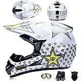 JCLDG Moto Cross Casco Adulto Motocross Casco, City Casco Gafas + Guantes de Motocicleta + Mascarilla D.O.T Standard para Hombre Mujer Niños Quad Bike ATV Casco,Blanco,M