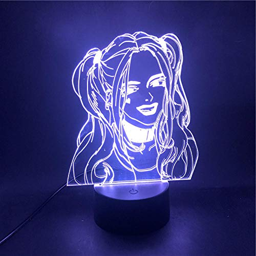 Lámpara de ilusión 3D Led Night Light Harley Quinn Super Villain para decoración con control Batería Despertador Base USB