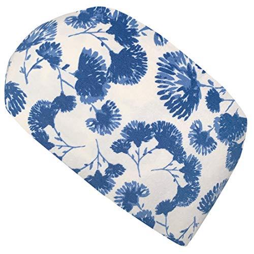 Wollhuhn Cinta elástica para el pelo con diseño de flores, color crema y azul 20203138