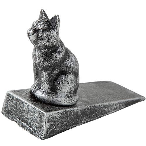 Cuña para puerta de gato de hierro fundido estilo vintage, cómoda | acabado decorativo encantador, parte inferior de fieltro antiarañazos acolchada que protege los suelos | en color plateado con negro