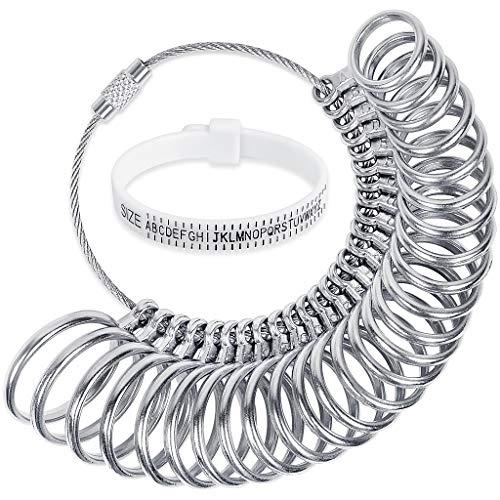 JCF Ring Sizer Gauge Set with Plastic Ring Sizer Belt Metal Finger...