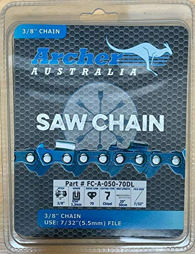 Andryani 1 Pc of 20' Chainsaw Saw Chain Blade Full Chisel 3/8' Pitch .050 Gauge 70DL
