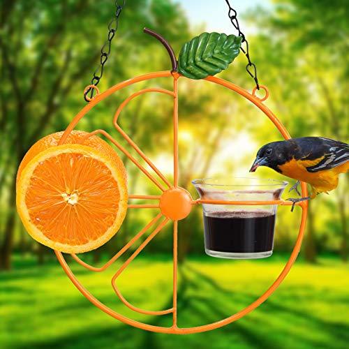 ALLADINBOX Oriole Bird Feeder, 17 inch Hanging Metal Bird Feeder,Detached Bowl Design,Orange Fruit Feeder,Great for Garden,Outdoor,Gift
