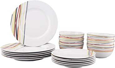 AmazonBasics 18-Piece Dinnerware Set - Warm Beams, Service for 6