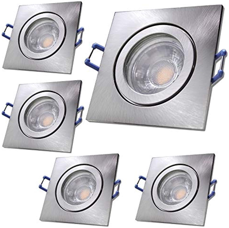 LED Bad Einbaustrahler 12V inkl. 5 x 5W LED LM Farbe Eisen geb. IP44 LED Einbauleuchten Neptun Eckig 3000K Deckenspots