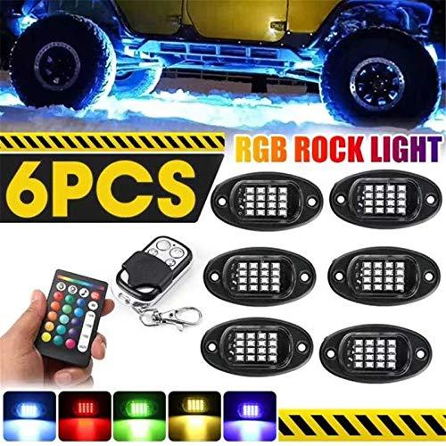 L.J.JZDY 1 Set 96 LED 6 en 1 RGB Luces de Roca App APL Lights Bottom Lights Neon Doble Afferme Apriew Car Atrapa Lámpara Bluetooth Kit de iluminación