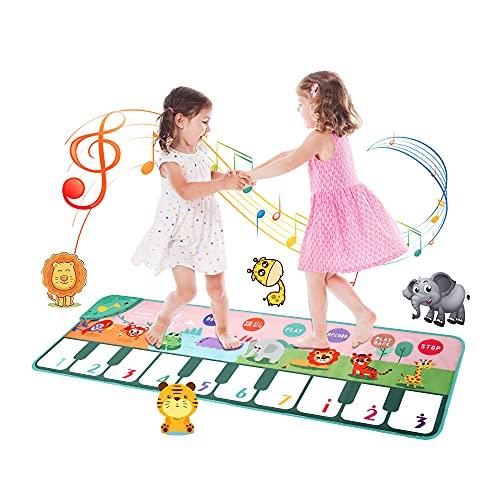 おもちゃ ピアノマット SANMERSEN 10鍵盤 ミュージックマット 8種類動物音 10曲デモ 滑り止め 折りたたみ式 録音機能 OKONモード スピーカー搭載 知育玩具(110 x 36 cm)