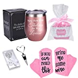 Stainless Steel Wine Tumbler with Socks, Bottle Stopper, Bottle Opener, Wine Gift Set, Funny Wine Gift, Best Friends Gift, Best Birthday or Festival Gift for Women, Girl