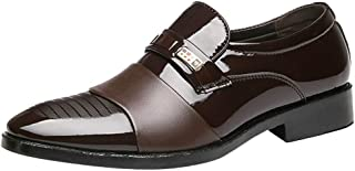Mens Loafers Leather Slip-On Shoes Bright Patchwork Moccasins Leather Pointed Toe Leather Shoes Men Non-Slip Square Heel F...