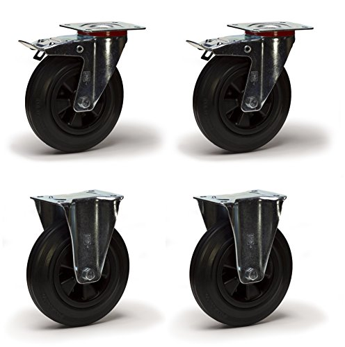Lot roulettes pivotantes à frein et fixes caoutchouc noir 200 mm - 615 Kg