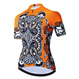 weimostar Maillot de ciclismo para mujer Bike Tops Camisas Transpirable Secado Rápido Clásico Patrón Naranja Talla M