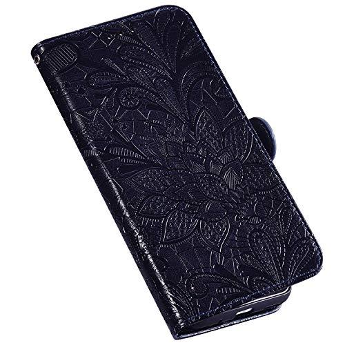 QPOLLY Kompatibel für Xiaomi Mi CC9E Hülle Leder Tasche Flip Case Spitzeblume Muster Handytasche Magnet Schutzhülle im Brieftasche-Stil mit Kartenfächer Standfunktion,Blau