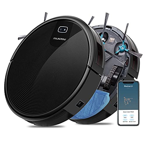 Milagrow BlackCat21 – Wet Mopping with Watertank Robotic Vacuum Cleaner, APP Control, 1500Pa iBoost Suction, Mapping, Scheduling, Self-Charge, 4 Cleaning Modes (Black)
