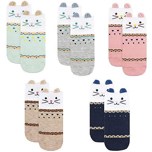 Lamdgbway 5 Paar Mode Frauen Socken Keine Show Socken Baumwolle Söckchen (One Size, Smiley-Katze)