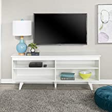 Walker Edison Rohde Contemporary 4 Cubby TV Stand for TVs up to 65 Inches, 58 Inch, White