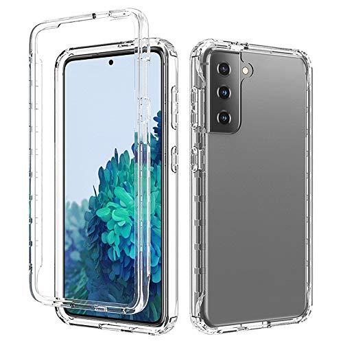 HiChili Cover per Samsung Galaxy S21 5G 6.2'' Custodia 360 Gradi Rugged Trasparente Fronte Retro Bumper Protettiva, Chiaro Gomma Copertura Integrale Protezione Schermo Antiurti Protezione Case