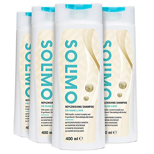 Marca Amazon - Solimo Champú revitalizante para volumen y brillo, con queratina, complejo mineral y D-pantenol- Paquete de 4 (4 Botellas x 400ml)
