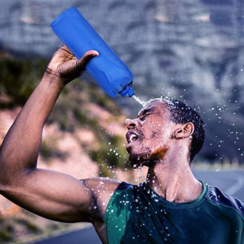 Weikeya Excelente Botella de Agua Plegable, 26.5 * 13 * 3.2cm Resistencia a la Temperatura de la Temperatura 650 ml Botella de Agua PE Hecha (Azul Profundo)