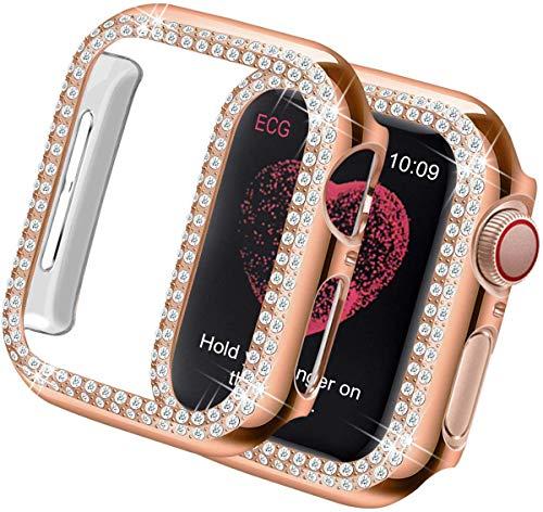 Compatible con Apple Watch 42mm Series 3/2/1 Funda,Glitter Diamante Rhinestone Hard PC Metal Carcasa Full Protective Cover Ultra Delgado Parachoques Funda Compatible con iWatch-Oro Rosa