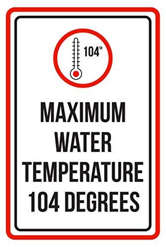 Celycasy Warnschild maximaler Wassertemperatur